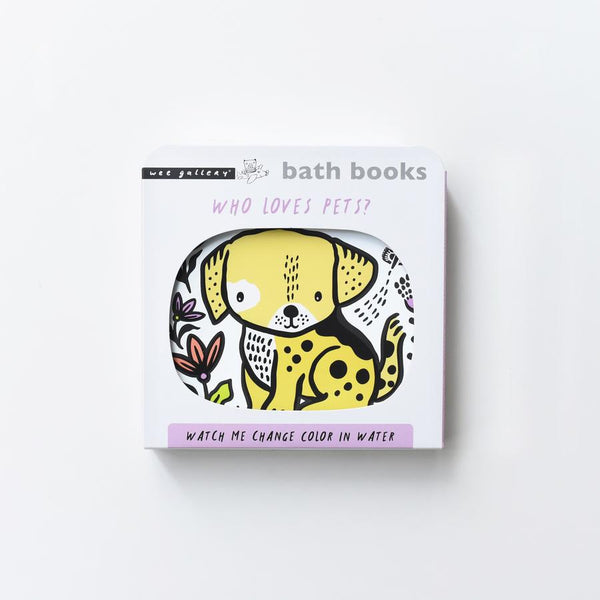 splish splash in water with this water magic painting book the perfect first bath book gift for baby at Crane and Kind featuring a yellow dog on the front