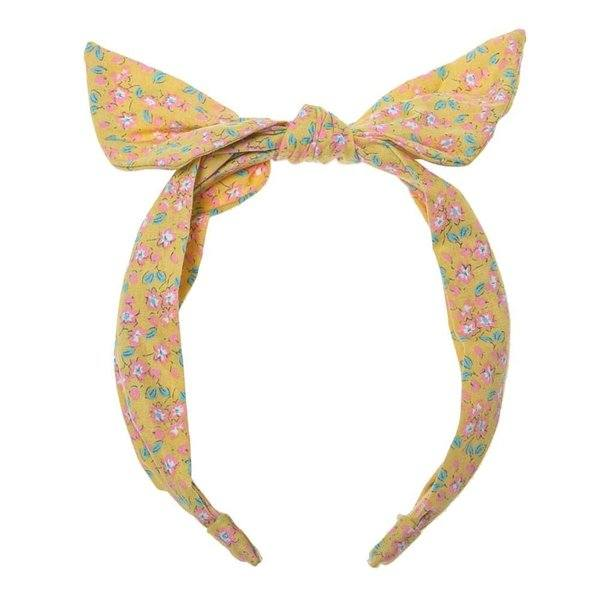 yellow flower blossom fabric tie head band at Crane and Kind by Rockahula