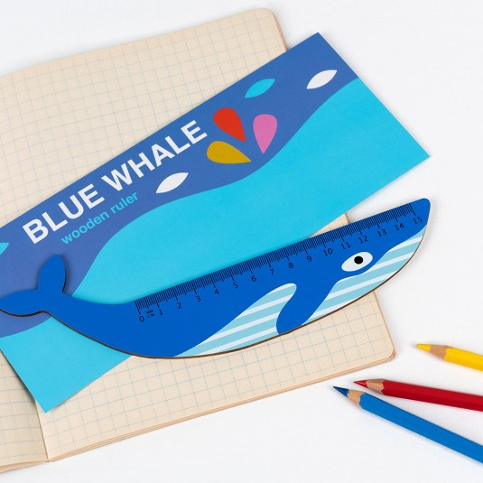 this fun blue whale shaped wooden ruler is perfect for working from home or home schooling fun at Crane and Kind