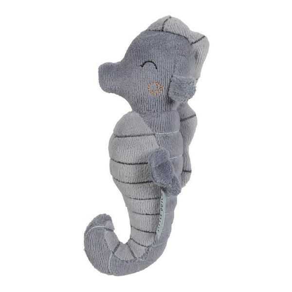 ocean blue rattle seahorse toy in soft blue fabric by Little Dutch at Crane and Kind  Edit alt text