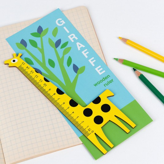 this bright yellow giraffe shaped ruler is perfect for home schooling or craft activities at Crane and Kind