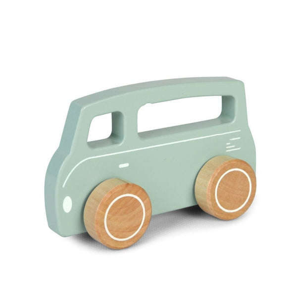 mint campervan van wooden push along toy with brown wooden wheels and a handle by Little Dutch at Crane and Kind