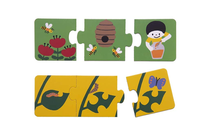 my first story puzzle animals includes 5 three piece puzzles showing how different animals are born and a bee making honey and a caterpillar turning into a butterfly at Crane and Kind