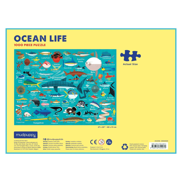 Ocean Life 1000 piece puzzle shows beautiful colourful fish and sharks and whiles against a blue background at Crane and Kind  the back of the board shows the puzzle piece size