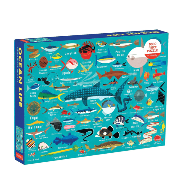 Ocean Life 1000 piece puzzle shows beautiful colourful fish and sharks and whiles against a blue background at Crane and Kind