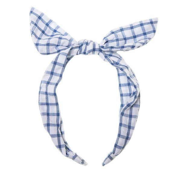 blue ginham picnic check fabric tie head band at Crane and KInd