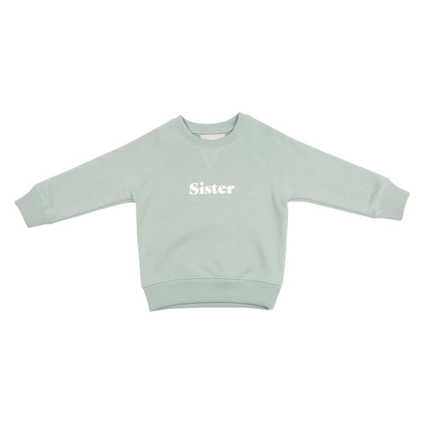 Sage SIster relaxed fit super soft sweatshirt for sibling twinning style at Crane and Kind