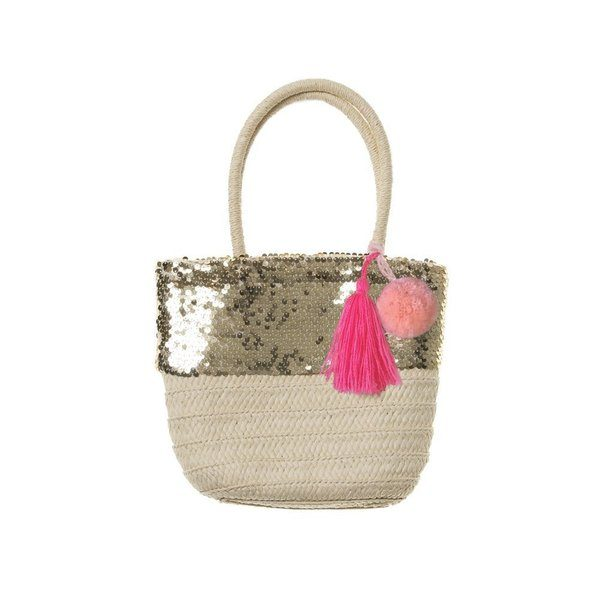 sequin woven natural gold sparkle neon pink tassel pom pom basket at Crane and Kind