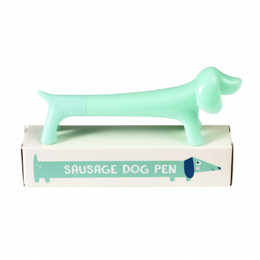 this turquoise blue sausage dog pen with blue ink is perfect for dog lovers at Crane and Kind