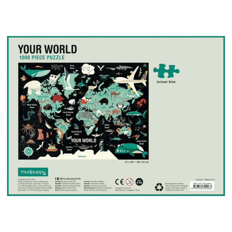 Your world 1000 piece beautiful family puzzle depicts the world and where animals live on it against a black background at Crane and Kind  the back of the box shows the puzzle piece size