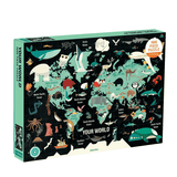 Your world 1000 piece beautiful family puzzle depicts the world and where animals live on it against a black background at Crane and Kind