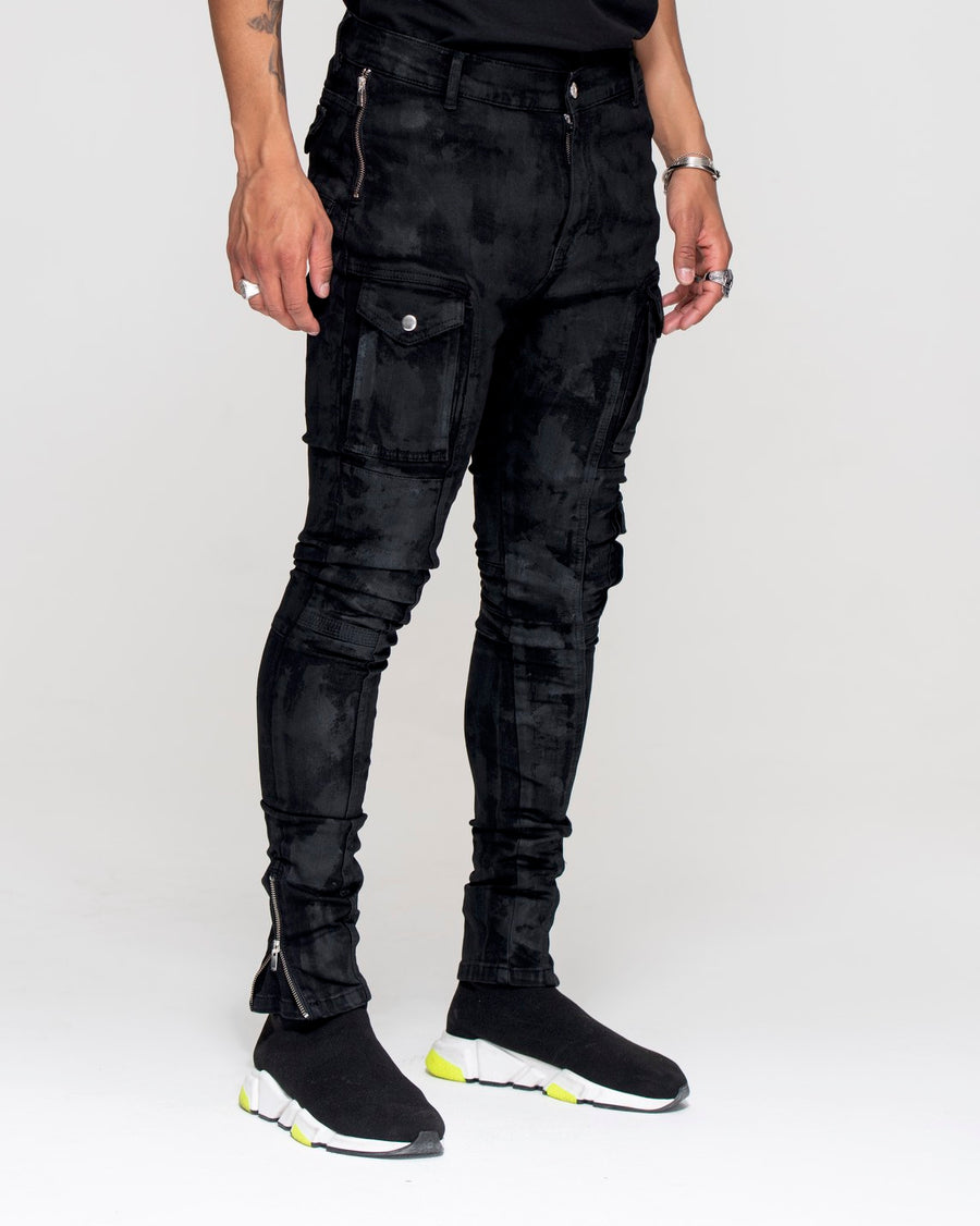 Kago Jeans Black Wax - Men's Cargo Jeans