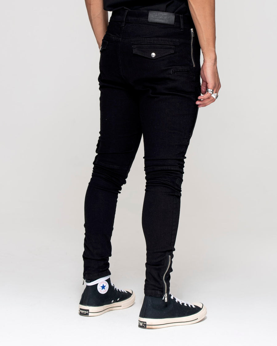 back view of jet black Kago jeans