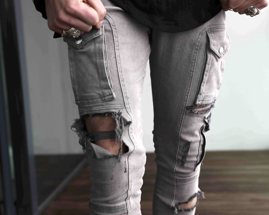 Kago Jeans Grey Distressed