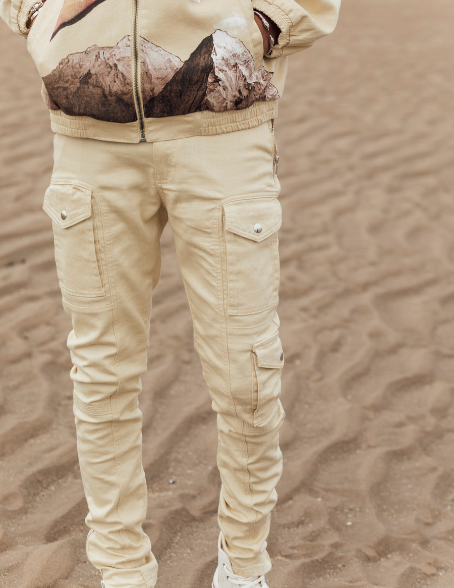Kago Jeans Cream - Men's Cargo Jeans
