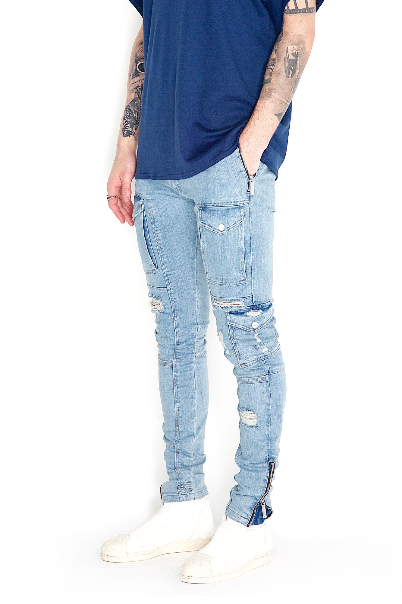 Kago Jeans Blue Distressed