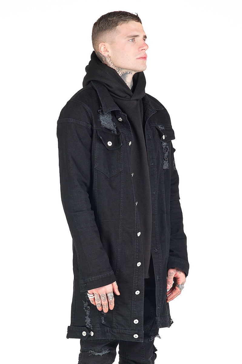 Kago Black Long Denim Jacket