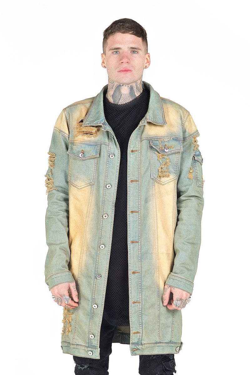 Kago Burnt Orange Long Denim Jacket