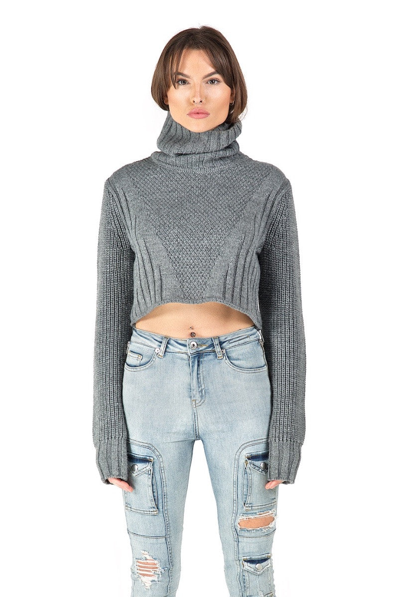 Eros Grey Cropped Knit
