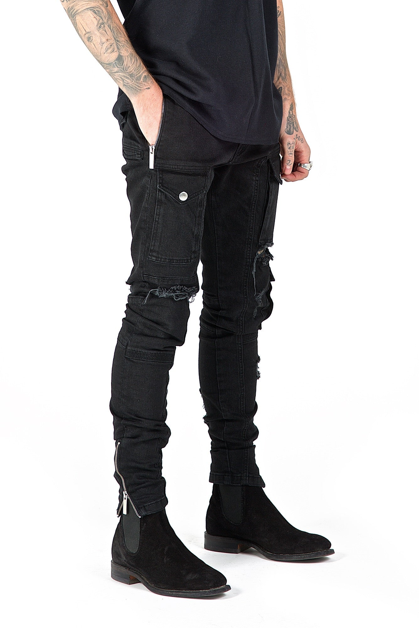 Kago Jeans Black Distressed