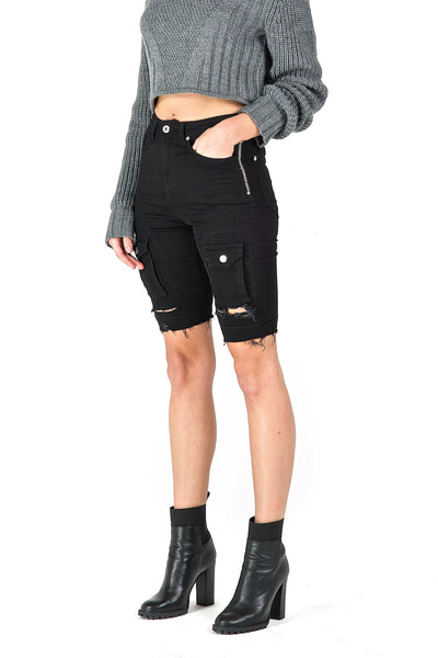 Heka Black Denim Shorts