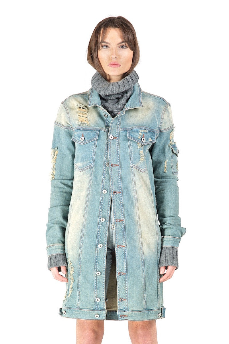 Iris Cream Blue Long Denim Jacket