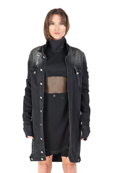 Iris Black Long Denim Jacket