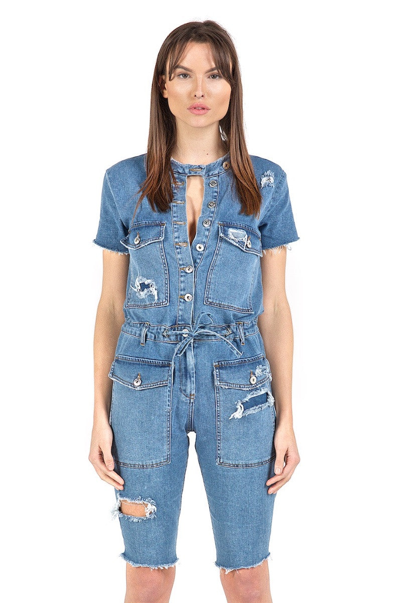 Vixen Blue Short-Sleeve Jumpsuit
