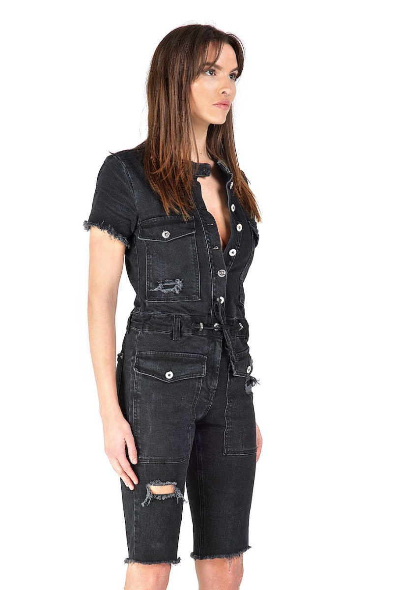 Vixen Black Short-Sleeve Jumpsuit