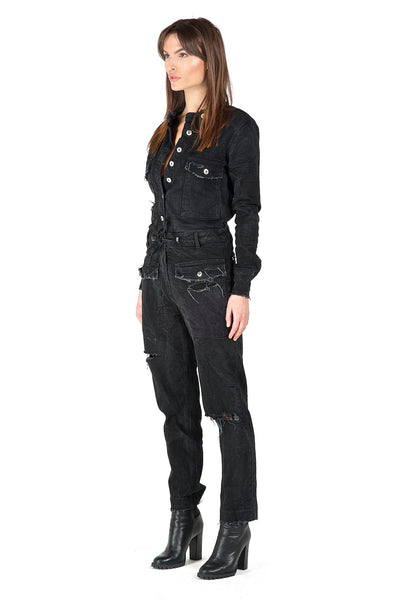 Fury Black Long-Sleeve Jumpsuit