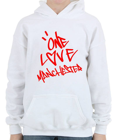 ONE LOVE MANCHESTER Hoodie Sweatshirt & T-Shirt Graffiti Design - as worn by Ariana Grande