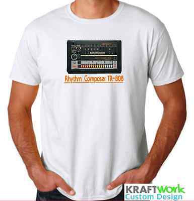 Roland TR-808 Drum Machine T-Shirt Rhythm Composer Classic 808 Design White Tee