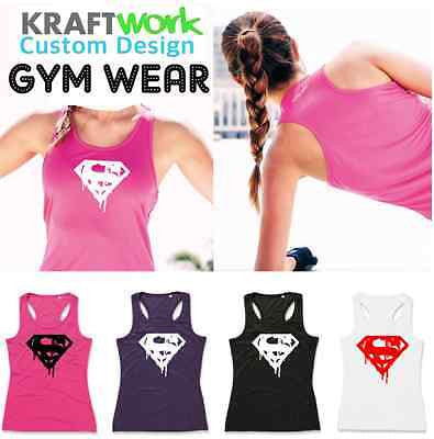 Ladies Super Girl Training GYM MMA Bodybuilding Sports Vest Tank Top Active-Dry