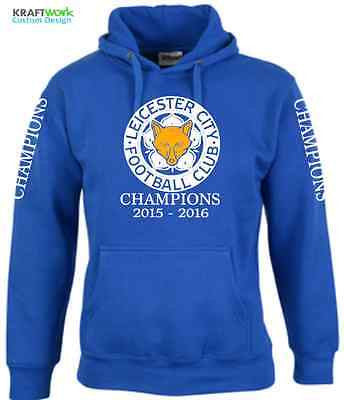 LEICESTER CITY Football HOODIE Premier League CHAMPIONS 2015 - 2016 LCFC Hoodie