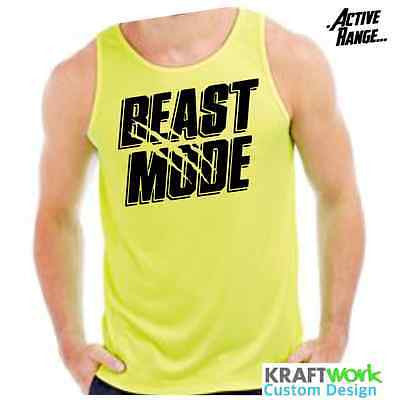 Mens Beast Mode Training GYM MMA Bodybuilding Sports Vest Top Active-Dry