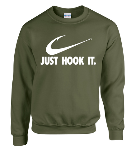 JUST HOOK IT - Fishing Fisherman Angling JUMPER Sweatshirt Carp Pole Sea Angler