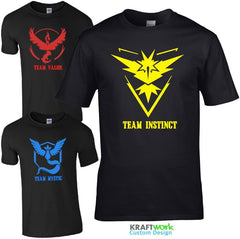 Team Instinct Valor Mystic T-Shirt - Pokemon GO  Kids Mens T Shirt Gift Top