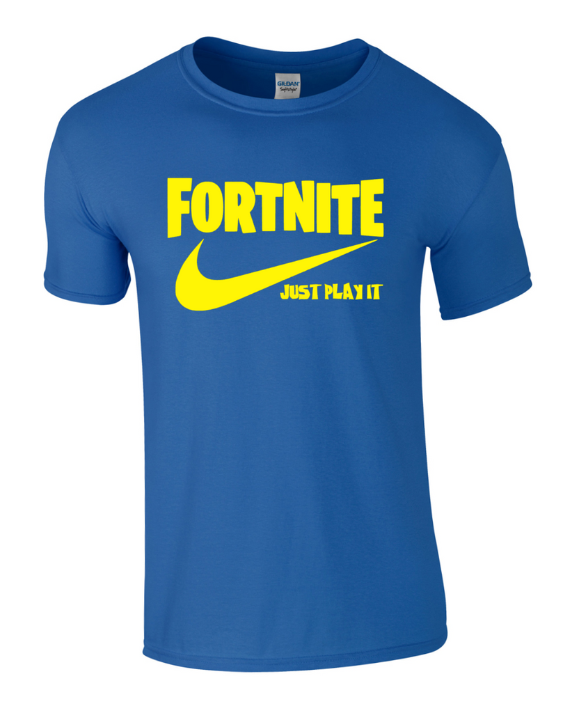 FORTNITE JUST PLAY IT  BATTLE ROYALE Inspired T-SHIRT - ALI-A Nike TOP XBOX PS4