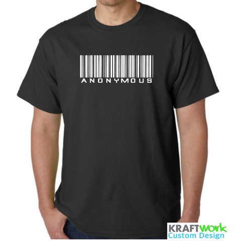 ANONYMOUS Barcode T-Shirt Wake Up! Available in Black, White S-4XL