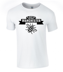 Manchester BEE T-Shirt Love Made in Manchester ( as seen on BBC News ) Original Kraftwork Design