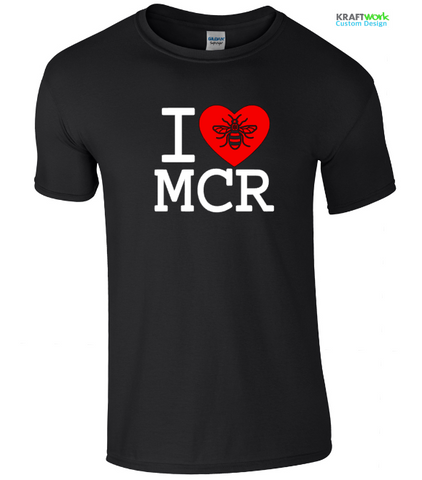 I Love ( HEART )Manchester With BEE T-Shirt Made in Manchester Original Design