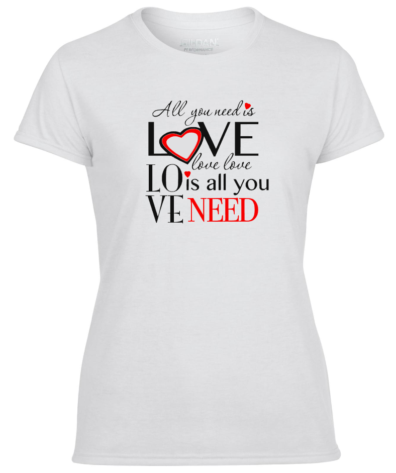 All you Need is Love, Love is all you need Fancy Valentines Ladies T-Shirt Great Gift