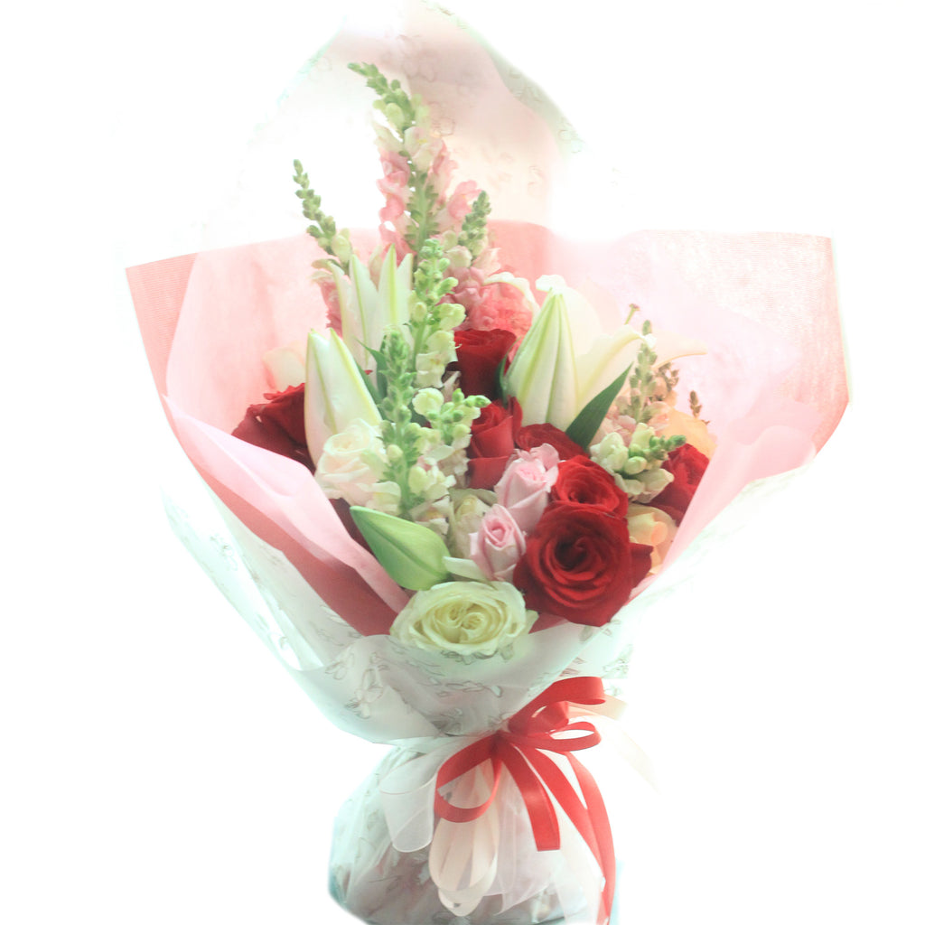 Red white roses with snap dragon and lilies blooming elise flowers red white roses with snap dragon and lilies izmirmasajfo