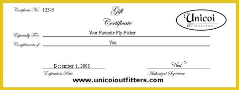 Public Water and Float Trip Fishing Gift Certificates