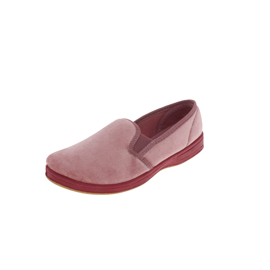 Debbie Dusty Rose-Women's Heritage-Foamtreads Slippers-Dusty Rose-Medium-5-Foamtreads Slipper Slippers Ladies Women Women's Embossed Velour Dual Gore Anti-Bacterial nylex footbed non-marking rubber outsole medium wide timeless twin gore popular best seller top seller