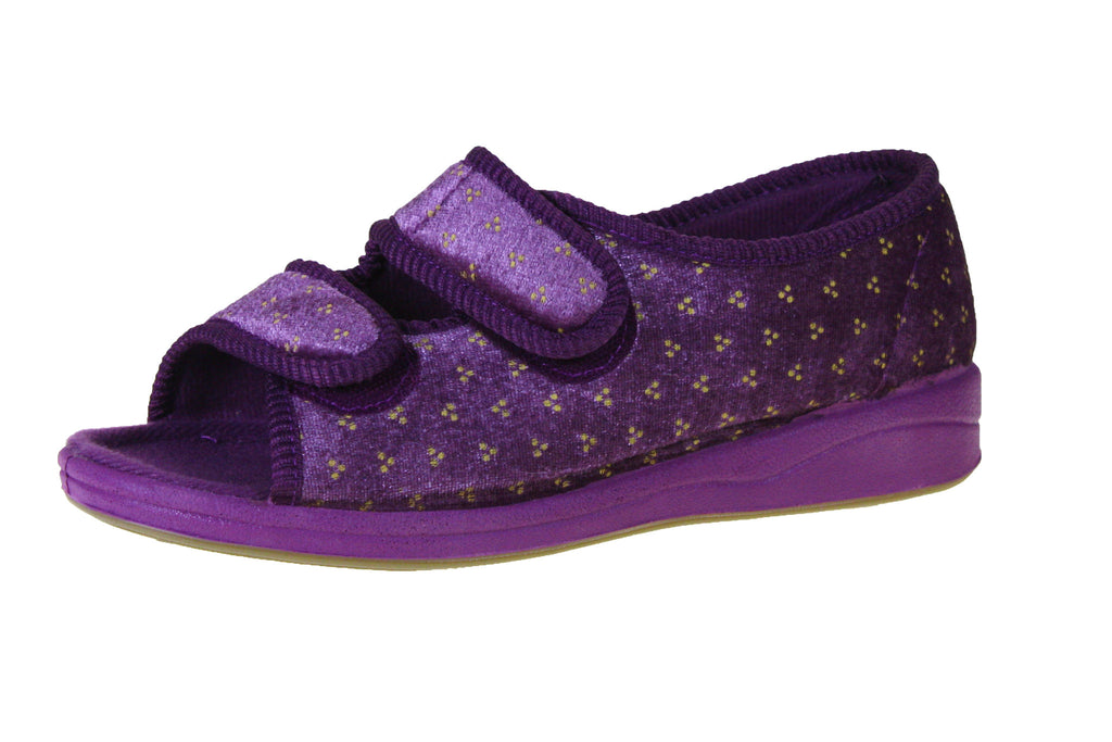 Debbien Printed Velour/Fabric-Foamtreads Slippers-Violet-5-Foamtreads Slippers Slipper Ladies Women Women's Medical Printed Velour Open Toe dual adjustable hook and loop velcro straps removable leather insole with memory foam medium popular double breathe custom fit comfort diabetic swollen feet