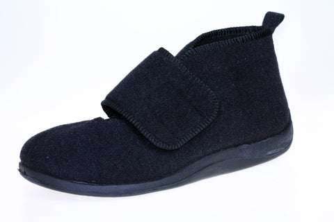 Comfort M Charcoal-Foamtreads Slippers-Charcoal-7-Foamtreads Slippers Slipper Men Men's Wool Blend Wide Adjustable hook & loop velcro strap nylex lining removable leather insole with memory foam extra depth ankle support custom fit