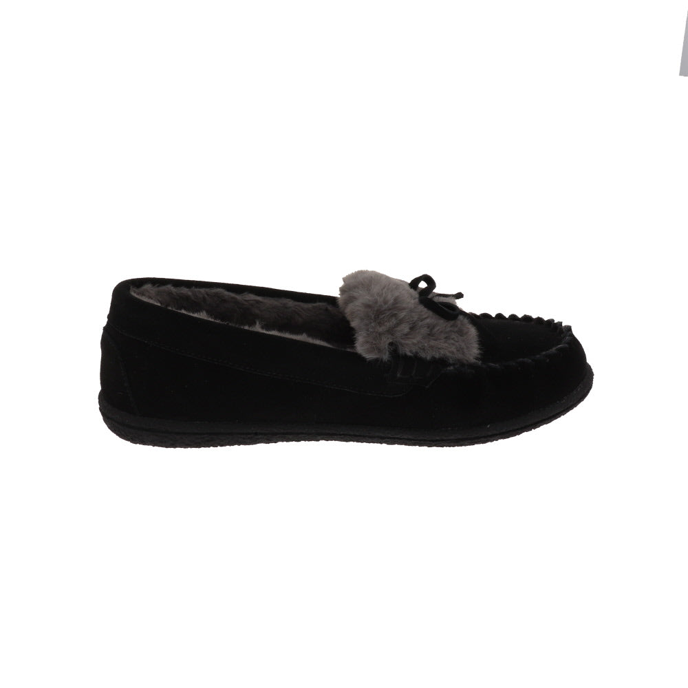 Janis Black-Closed Back-Foamtreads-Foamtreads canada ladies women women's slipper slippers shoe shoes closed back genuine leather suede contrast plush cuff memory foam medium indoor outdoor cozy moccasin comfy stylish