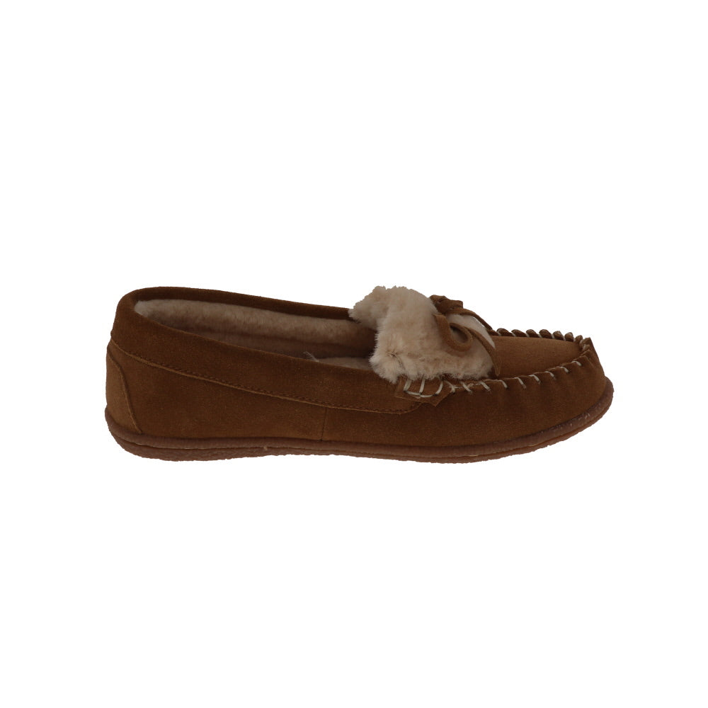 Janis Chestnut-Closed Back-Foamtreads-Foamtreads canada ladies women women's slipper slippers shoe shoes closed back genuine leather suede contrast plush cuff memory foam medium indoor outdoor cozy moccasin comfy stylish
