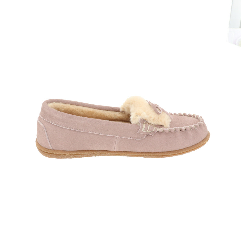Janis Pink-Closed Back-Foamtreads-Foamtreads canada ladies women women's slipper slippers shoe shoes closed back genuine leather suede contrast plush cuff memory foam medium indoor outdoor cozy moccasin comfy stylish
